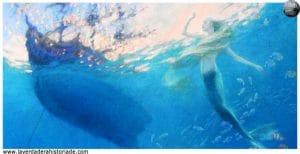 La Sirenita nada hasta la superficie