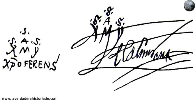 Las pruebas de la caligrafía del almirante