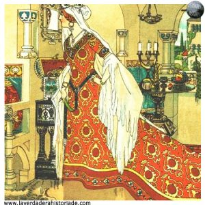 La madrastra malvada de Blancanieves hablando con su espejo mágico